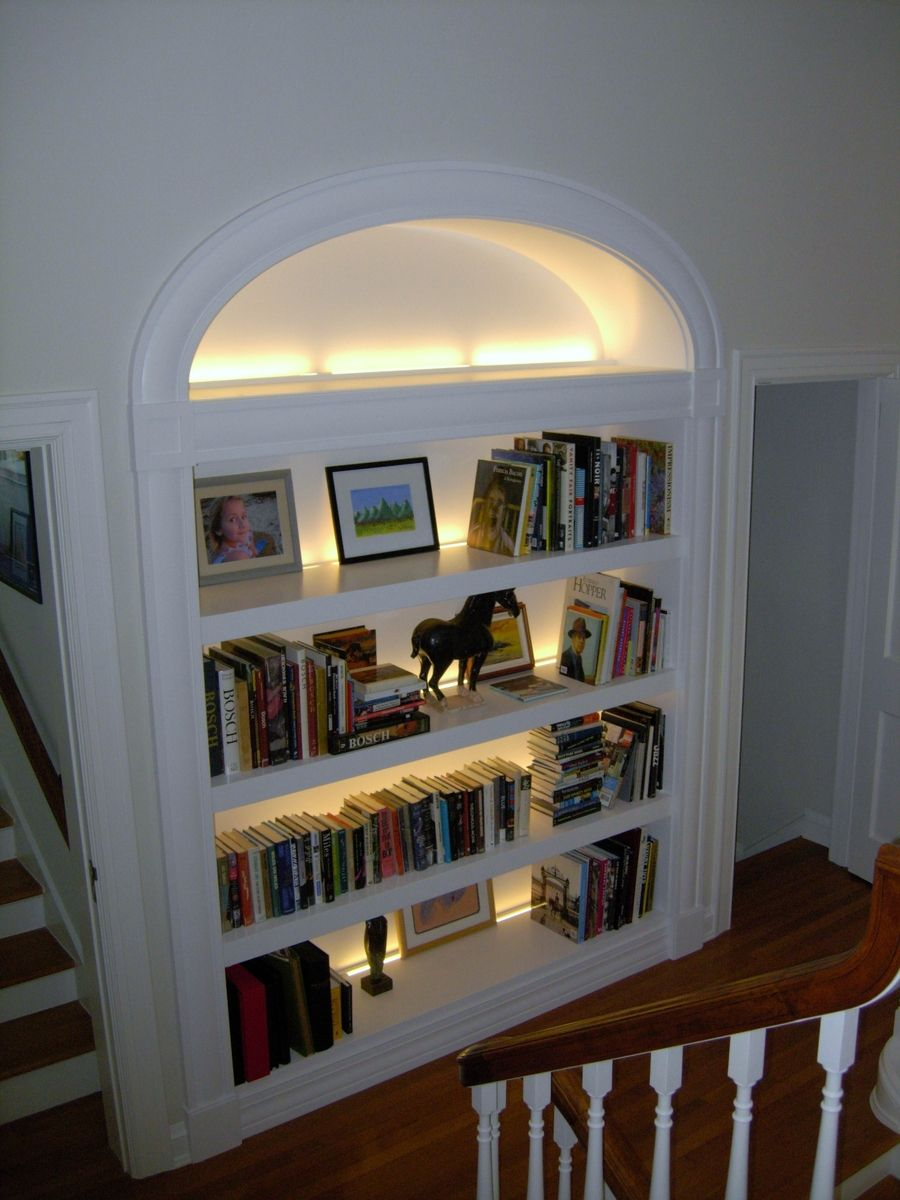A Large Deep Paint Grade Open Bookcase With Elliptical Casing And Led Back Lighting Thick Fixed Shel Built In Bookcase Bookcase Lighting Bookshelves Built In
