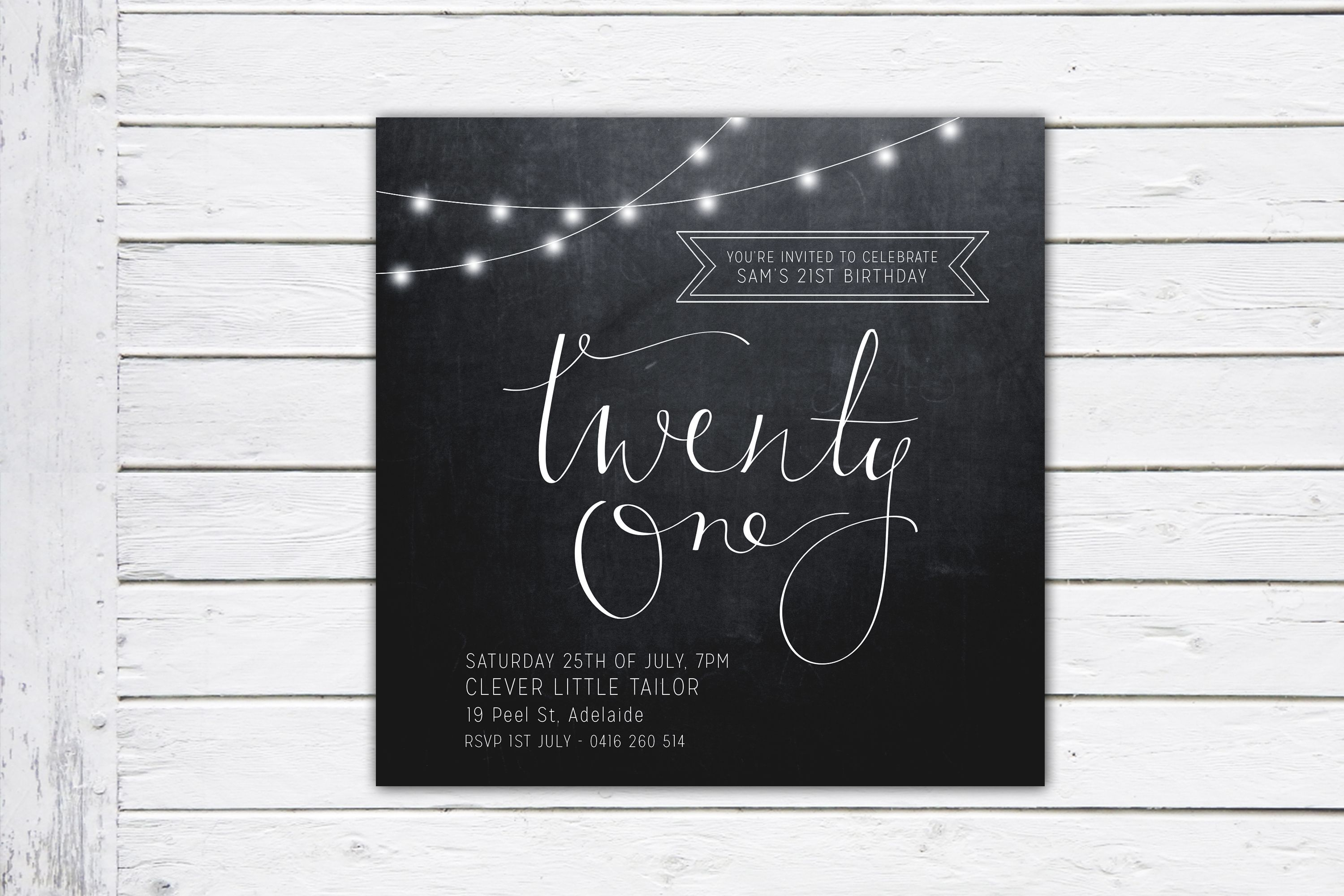 Fairy Lights, twenty first birthday invitation, hipster invite ...
