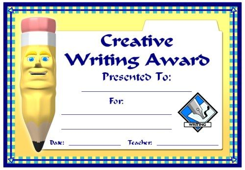 English Award Certificates  Creative Writing Elementary Schools