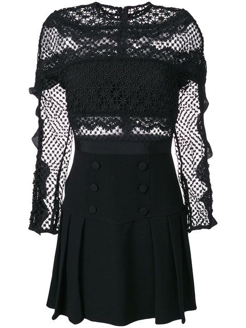 81287ad7d1b36 Self-Portrait Crochet Pleated Dress $526 - Shop AW17 Online - Fast  Delivery, Price