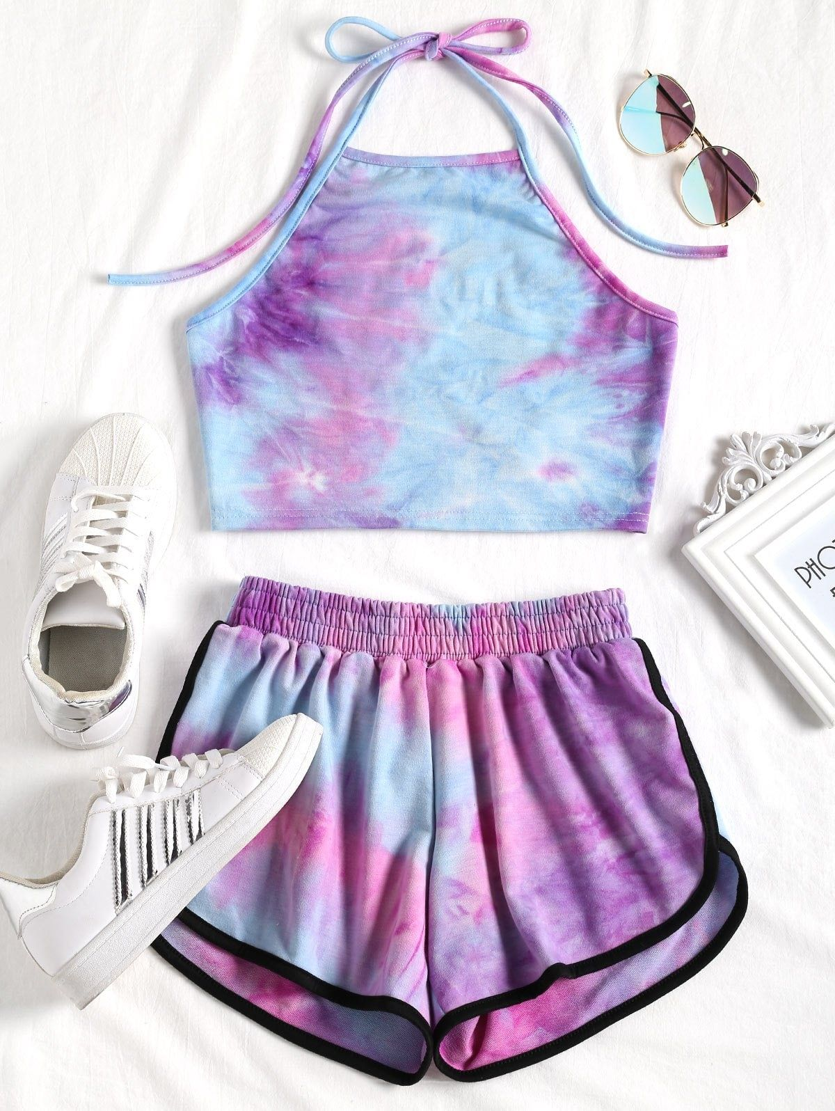 Tie Dyed Crop Top And Shorts Set Purple And Blue Yellow And Blue