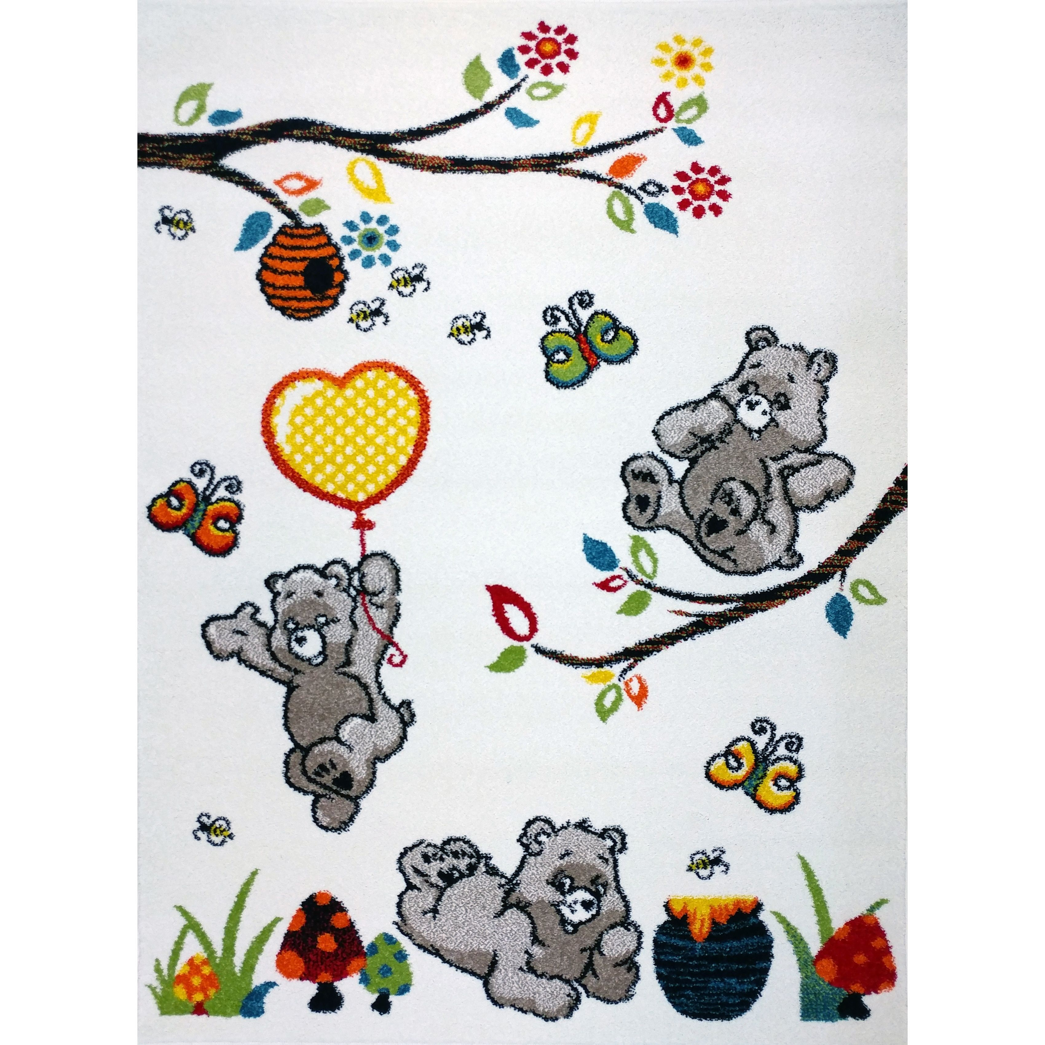 KC Cubs Bear and Bees Boy and Girl Bedroom Modern Decor Area Rug and Carpet Collection For Kids and Children