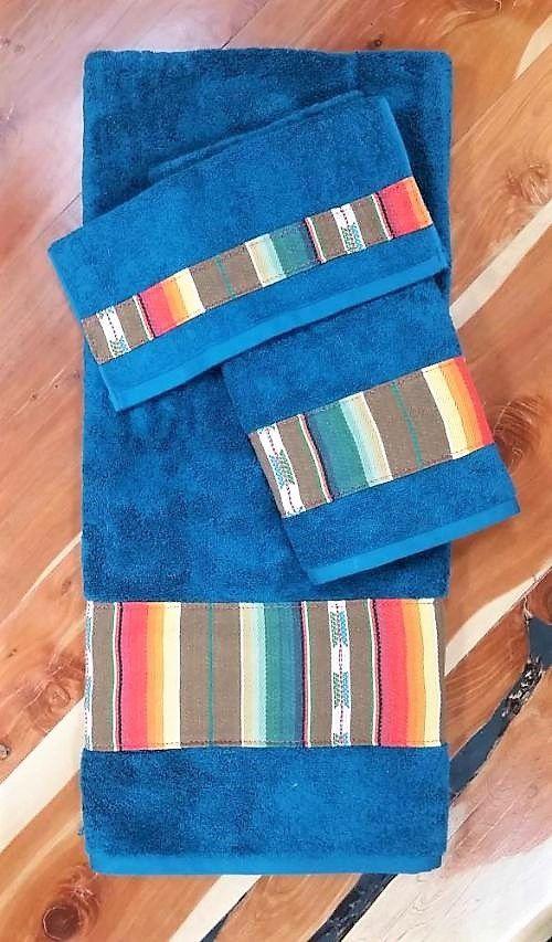 Southwest Bath Towel Set Blue Mexican Serape Bath Towels Towel