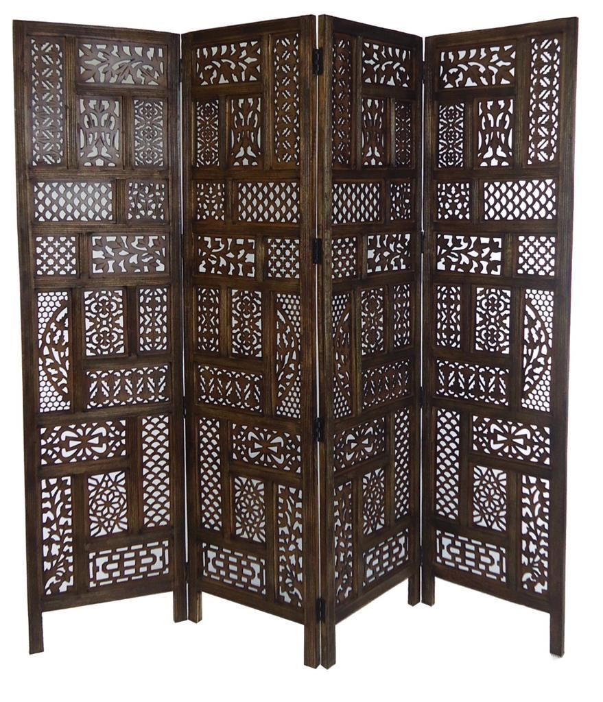 Hand Carved Heavy Duty 4 Panel Indian Wood Screen Divider Circle Jali Design Wood Screens Divider Wood Screens Wooden Screen