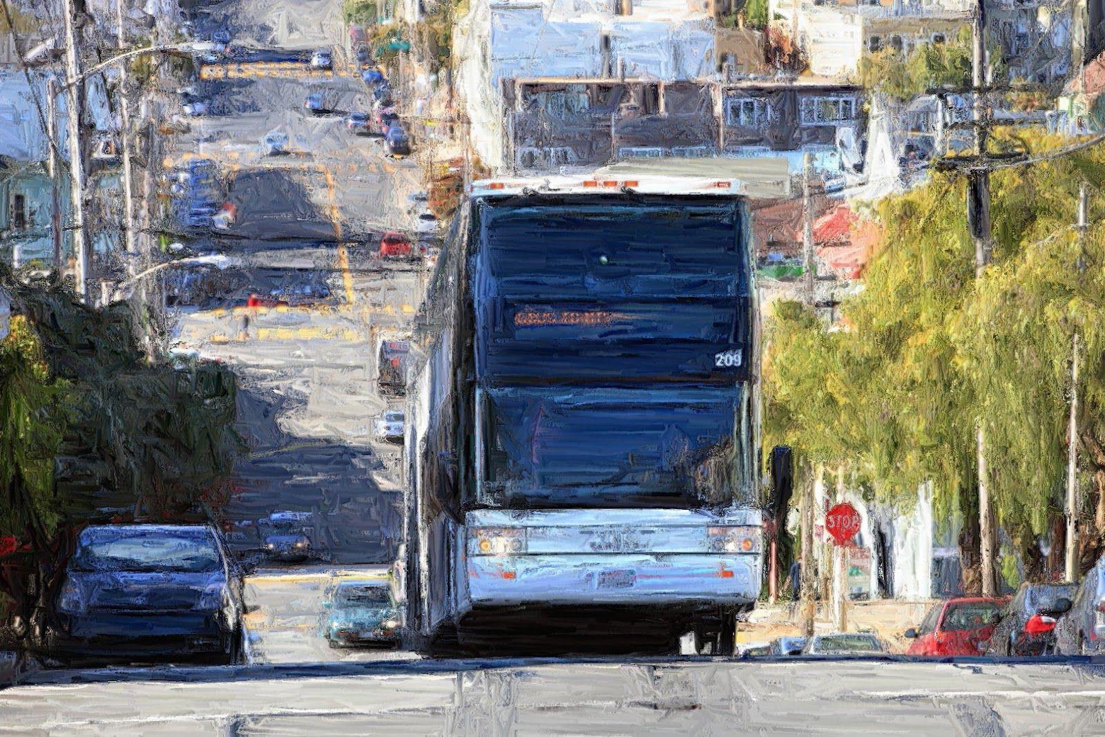 Wayne Thiebaud Painting Of Bus Potrero Hill In San Francisco Transportation
