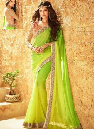 f6735291a88 Parrot Green Embroidery Work Georgette Net Designer Fancy Party Wear Sarees  http   www