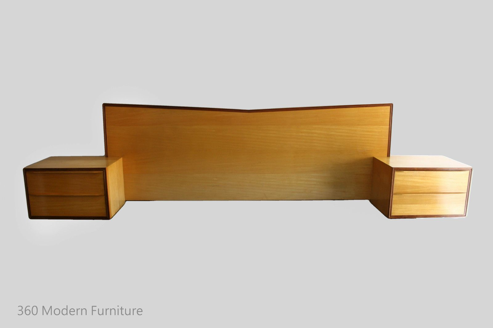 MID Century Rosando Brothers Bros Floating Bedside Tables Drawers Bedhead Queen Retro Vintage Blondewood Walnut in VIC | 360 Modern Furniture eBay