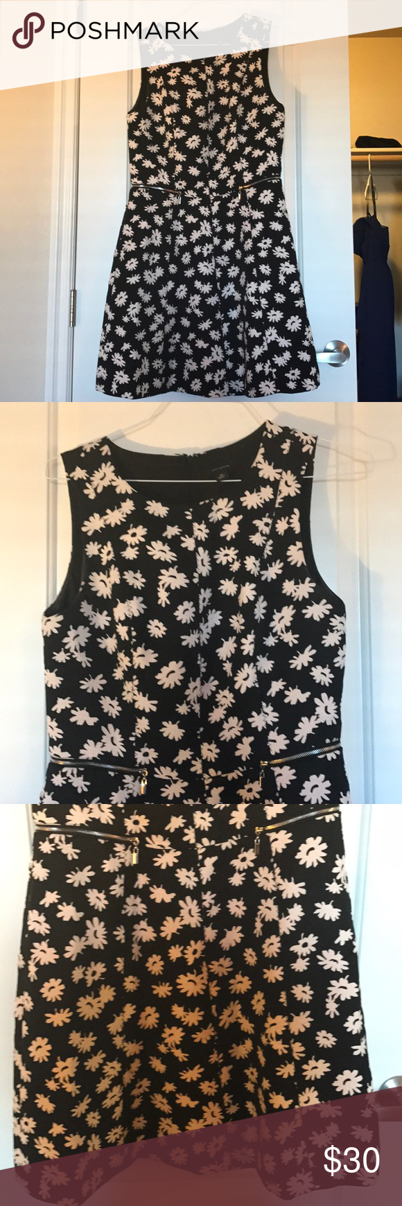 Ann Taylor Black And White Flower Dress Flower Dresses Size 10
