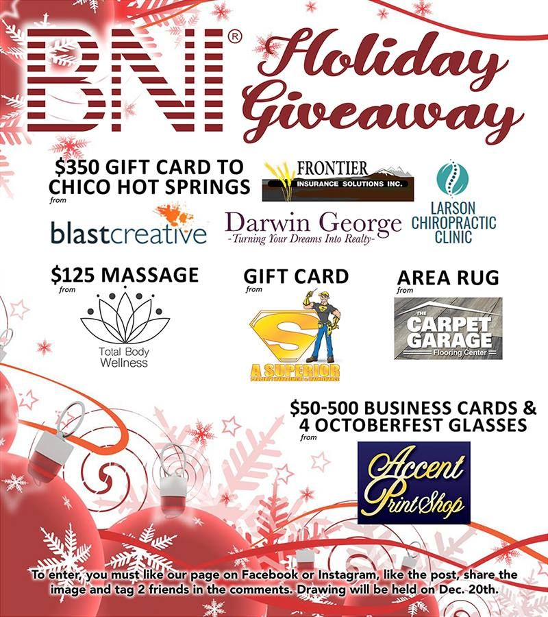 Bni holiday contestdrawing will be dec 20th a 350 gift