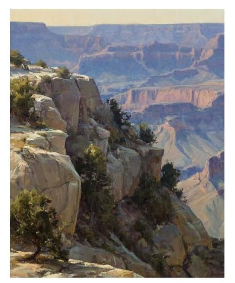 """Overlooking the Grand Canyon,"" Clyde Aspevig, oil on canvas, 40 x 32"", private collection."