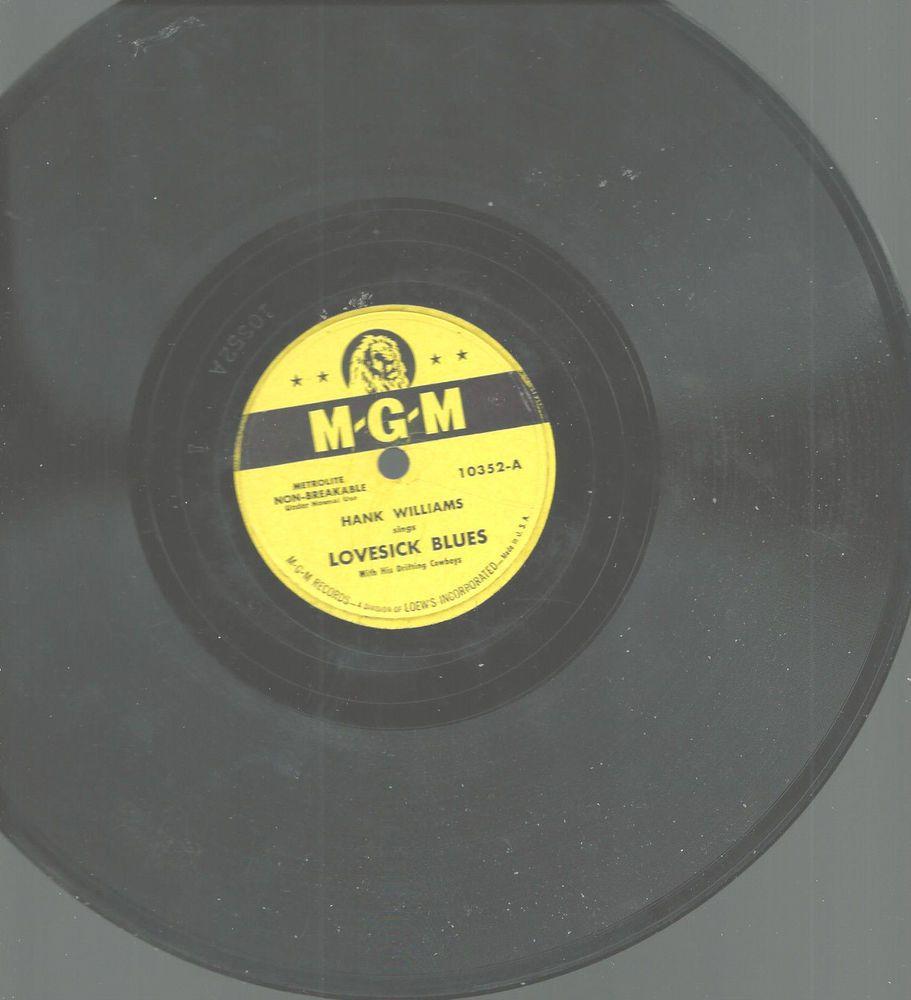 Hank Williams Lovesick Blues Never Again 78 Rpm Mgm Records Used Hank Williams Lovesick Blues Records