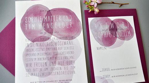 Hochzeitskarten Set Watercolour Puntini U2013 Frische Farben Für Die Liebe,  Einzigartige Einladungskarten Für Sie.