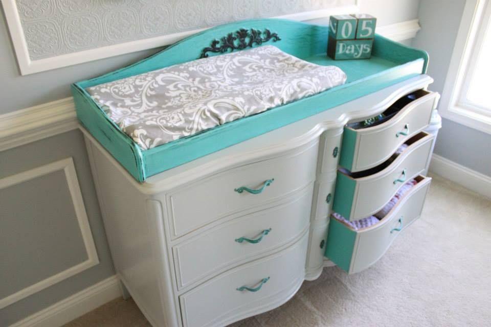 Refinished Vintage Changing Table Painted Teal - #nursery #vintage