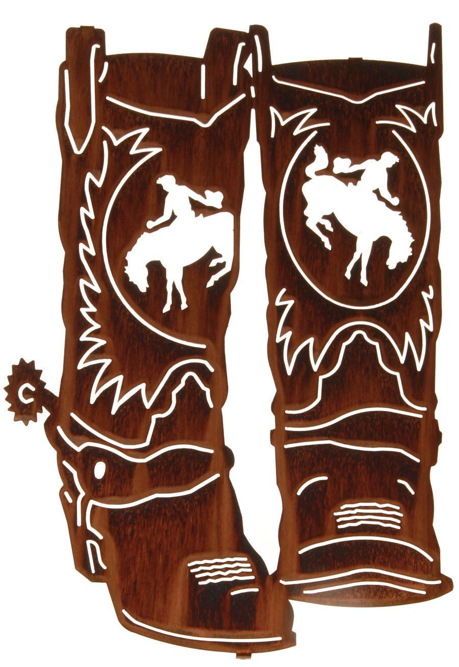 Cowboy Boots With Spurs Laser Cut Metal Wall Art