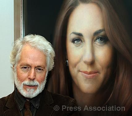 Artist Paul Emsley in front of his new portrait of The Duchess of Cambridge following its unveiling at the National Portrait Gallery in London, 11 January 2013.