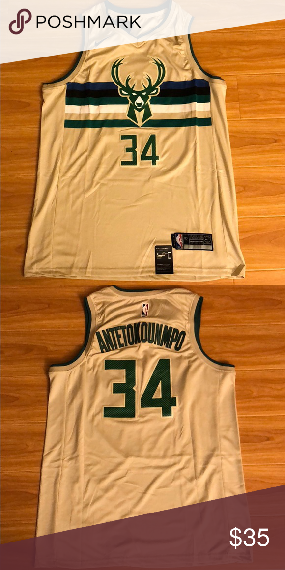 Giannis Antetokounmpo 34 Bucks Cream Jersey Brand New With Tag All The Numbers And Letters Are Stitched Nike Shirts Tank To Nike Shirts Jersey Clothes Design