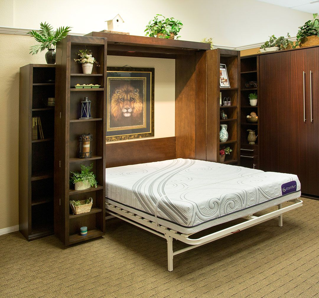 Queen size Bifold Bookcase Wallbed in Alder wood with
