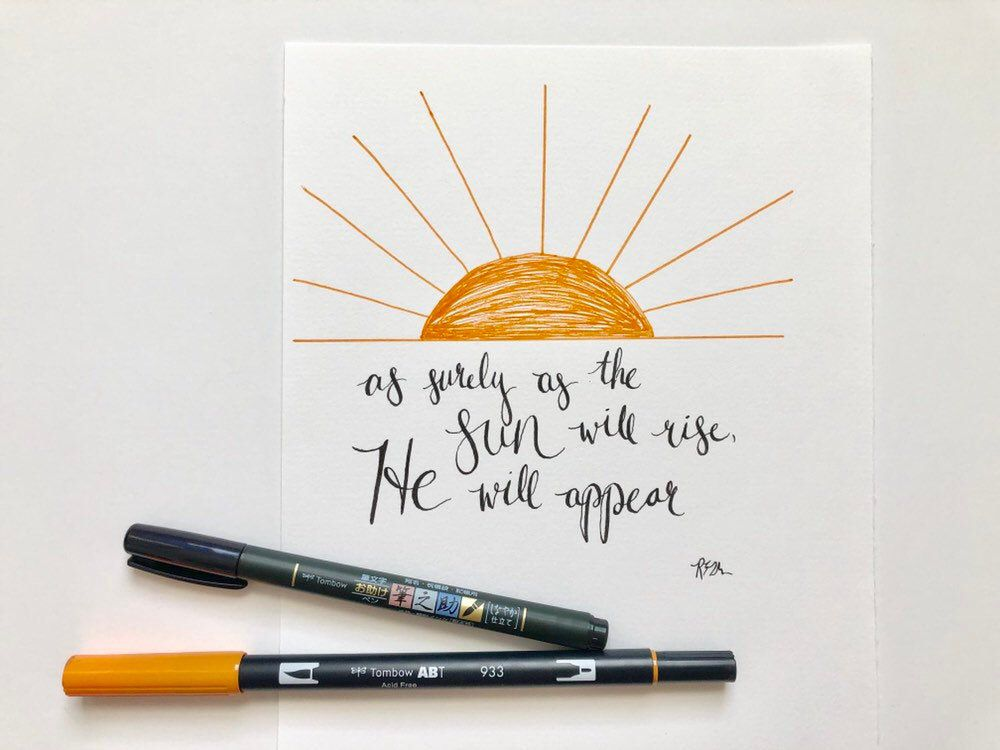Hand Lettered Bible Verse Hosea 6 3 As Surely As The Sun Will