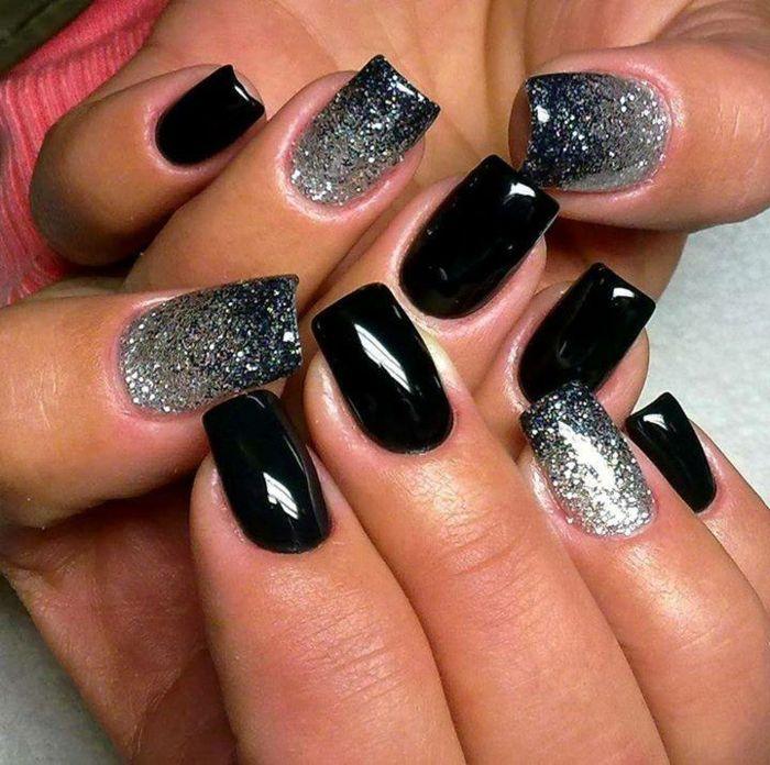 party nageldesign in schwarz und silber wundersch n aussehen fingern gel pinterest. Black Bedroom Furniture Sets. Home Design Ideas