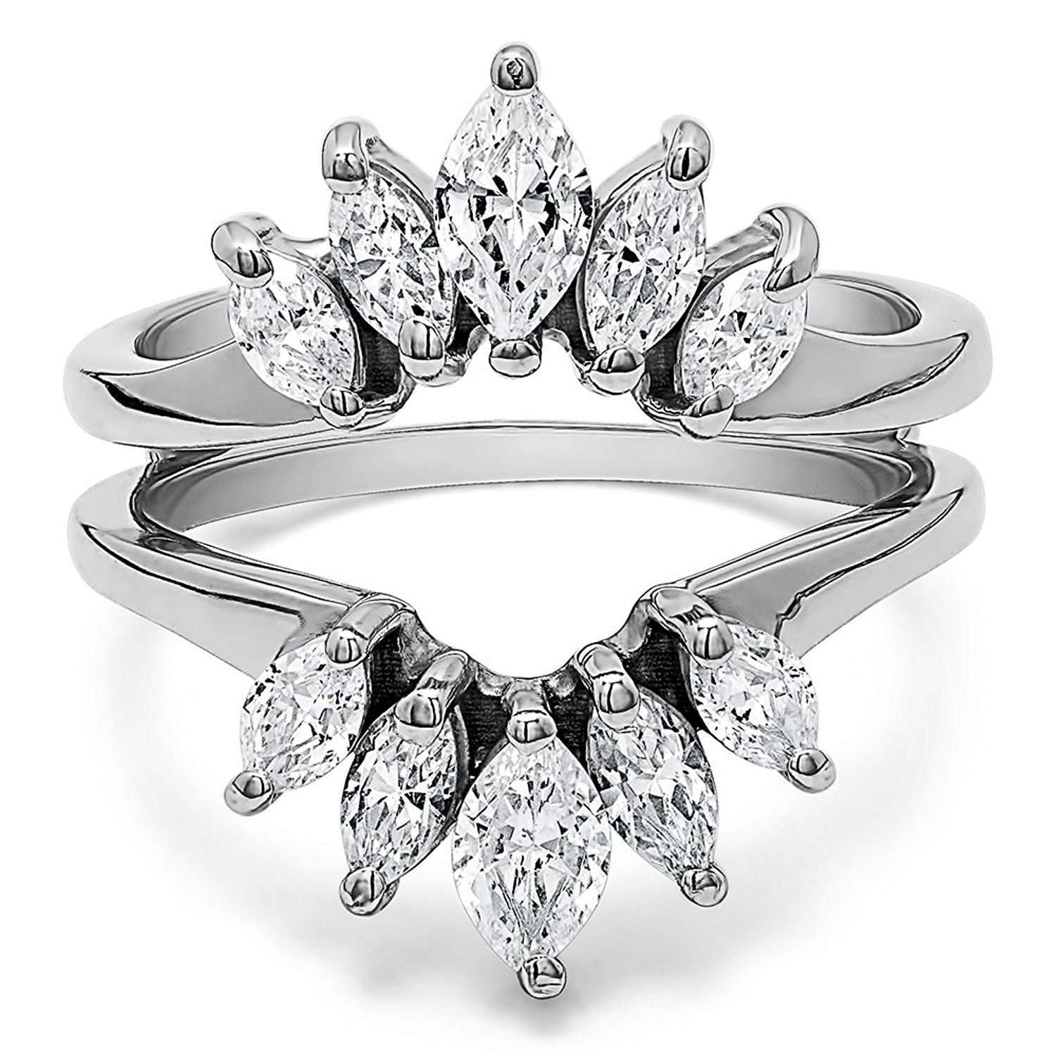 Sterling Silver Marquise Ring Guard Enhancer For Pear