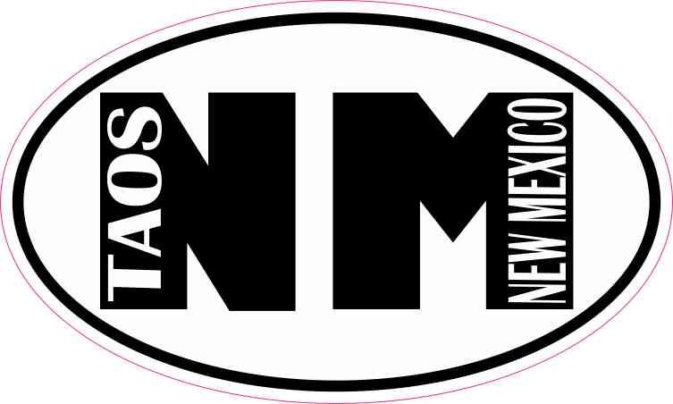 "New Mexico NM White State Oval car window bumper sticker decal 5/"" x 3/"""