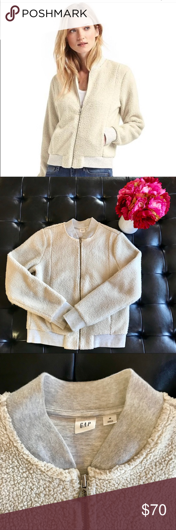 11733657 Gap Sherpa Bomber Jacket This cozy, cream colored retro jacket has only  been worn 2-3 times and is in EUC! Size is Medium but would fit a Small, ...