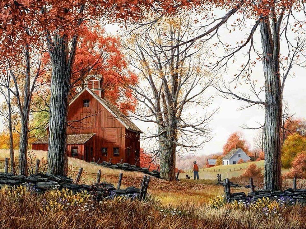 autumn farm scene Farm scenes Pinterest Farming