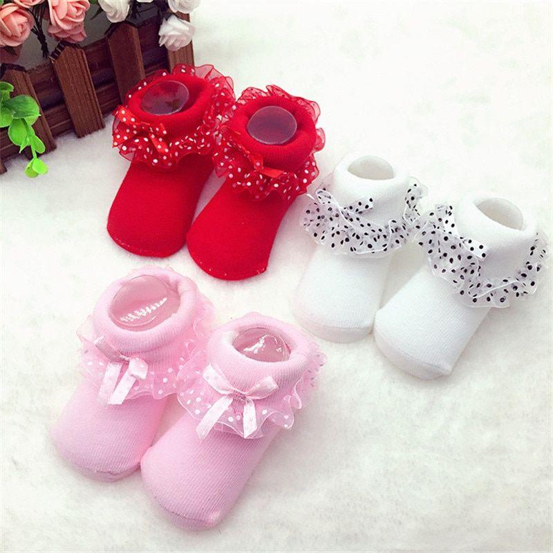 Cute Tiny Baby Infant Socks Shoes Cotton Warm Soft Kids Non-slop Ankle Newborn