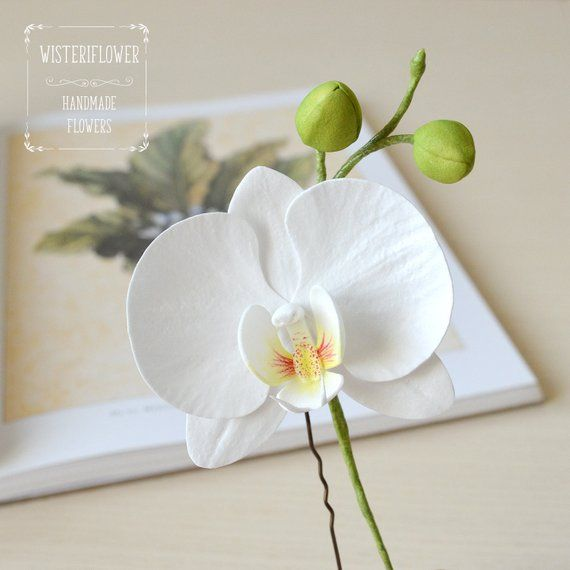 Wedding Hair Pin White Orchid Hair Pin Beach Wedding White Flower