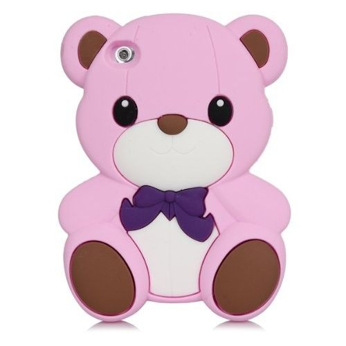 For iPod Touch 5 5th Hot Pink 3D Teddy Bear Silicone Rubber Skin Cute Case Cover