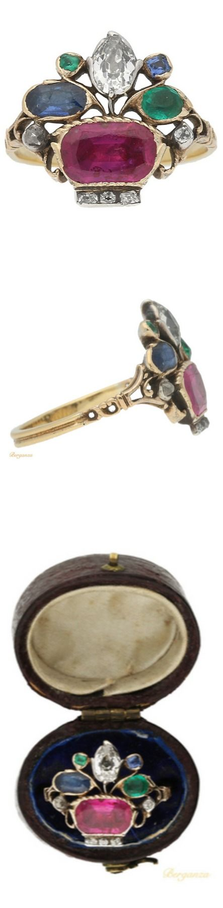 Very Rare Georgian Ruby Sapphire Emerald Diamond Gold Ring Circa 1760 Giardinetti Means Little Gardens Ancient Jewelry Antique Jewelry Historical Jewellery