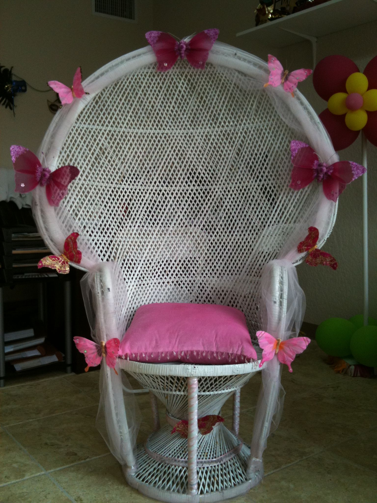 Butterfly Chair Too Cute We Can Paint The Chair Baby Shower Chair Butterfly Baby Shower Elegant Baby Shower