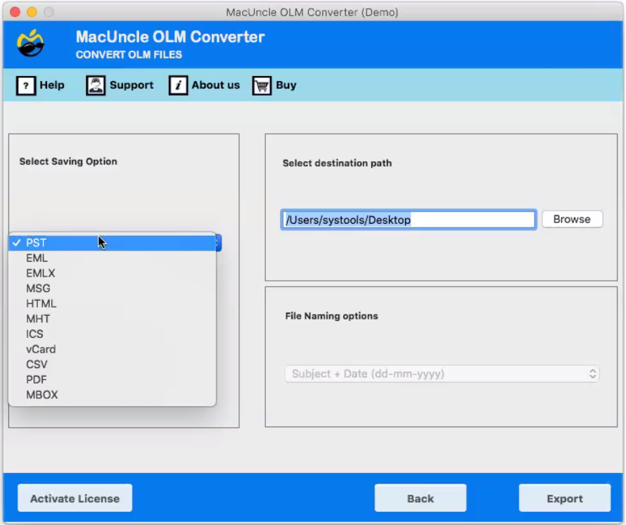 Mac OLM to PST Converter for Mac OS Computer for importing