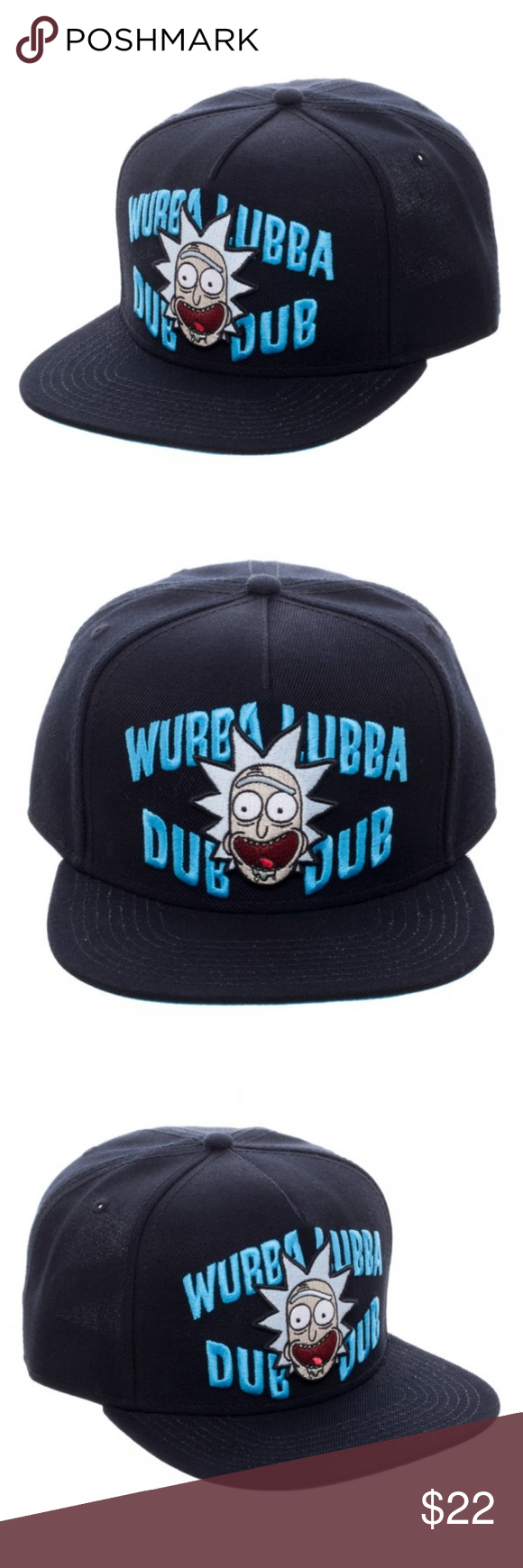 b2c59b8baa3 Rick And Morty Wubba Lubba Black Snapback Hat This hat is a dope addition  to any
