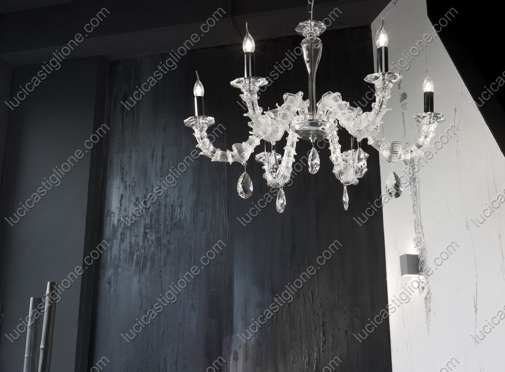 Lampadari murano moderni fresco lampadario con riccioli di vetro
