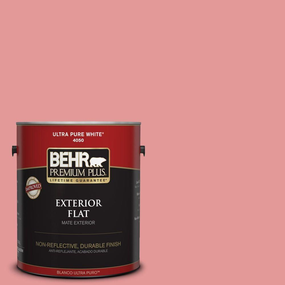 BEHR Premium Plus 1-gal. #M160-4 She Loves Pink Flat Exterior Paint ...