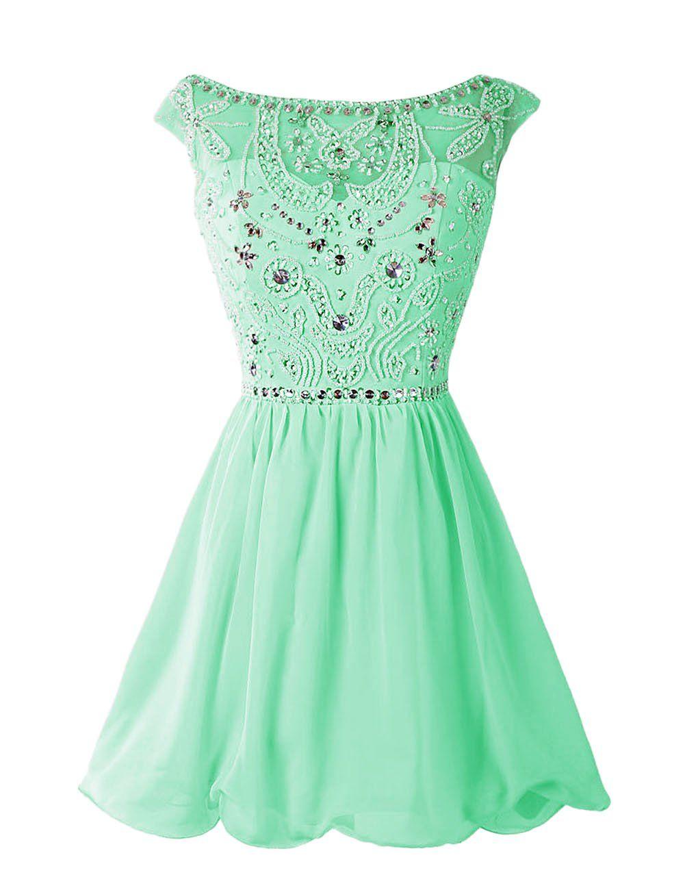 Dressystar Short Homecoming Party Dress Sparkling Bateau Prom ...