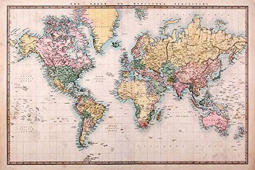 Weltkarte Poster Vintage weltkarte als poster | topografische weltkarte im vintage-stil