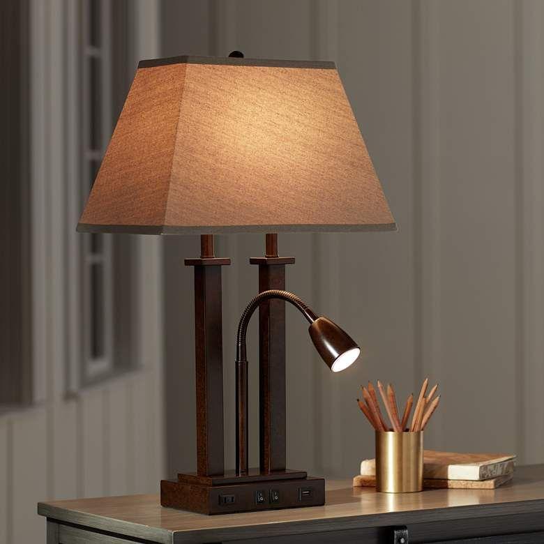 Deacon Bronze Gooseneck Desk Lamp With Usb Port And Outlet