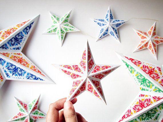 DIY Christmas star ornaments, 8 printable Christmas decorations Christmas  tree ornaments, 3d papercraft paper stars Instant digital download - DIY Christmas Star Ornaments, 8 DIY Holiday Ornaments, Printable