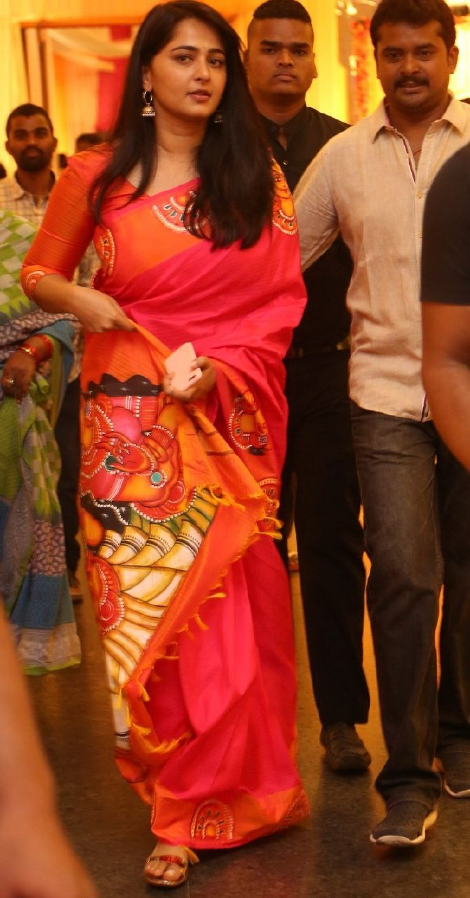 Anushka Shetty In Red Saree At Shyam Prasad Reddy Daughter