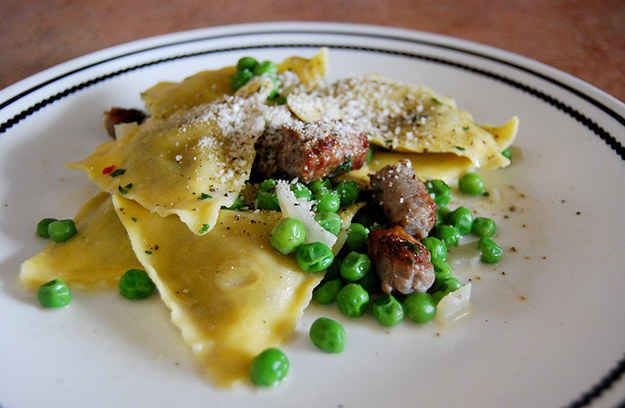 Carbonara-Inspired Ravioli made with almond milk. Just omit sausage or replace with a vegan alt