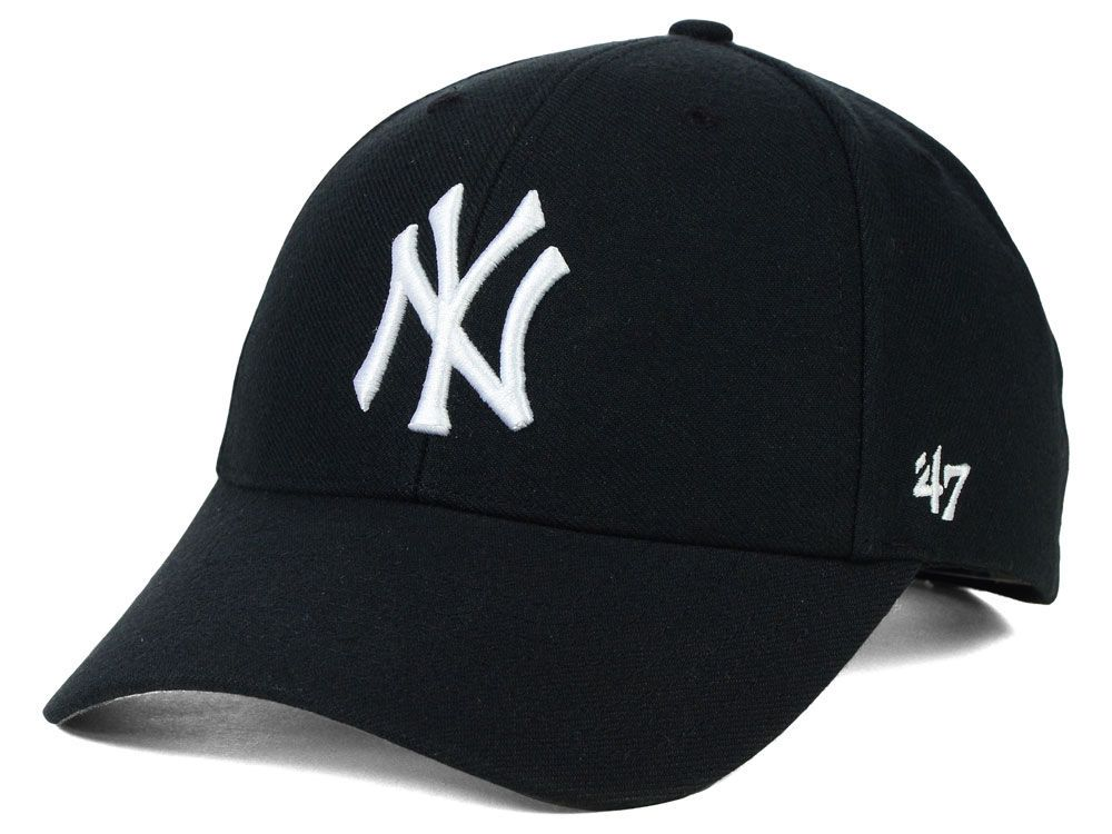 New York Yankees  47 MLB Black White  47 CLEAN UP Cap ( 28) ❤ liked on  Polyvore featuring accessories, hats, sports hats, yankees … e067d669042f