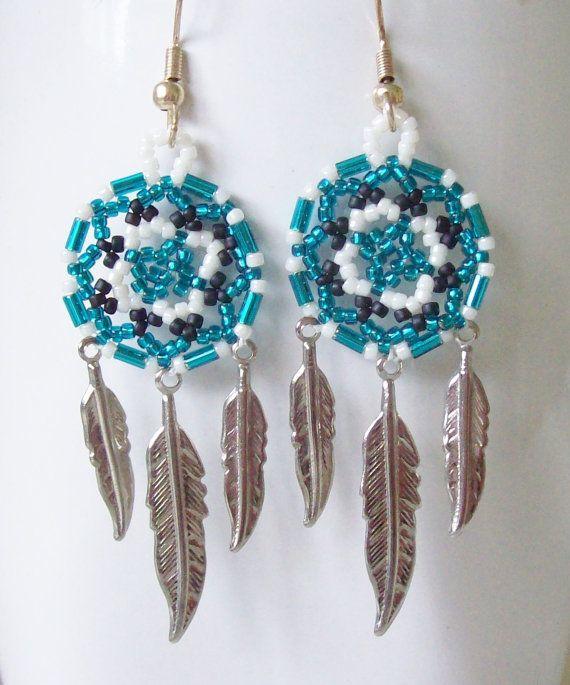 """2 1//2/"""" Long White Blue Handmade Dream Catcher Style Dangle Seed Bead Earrings"""
