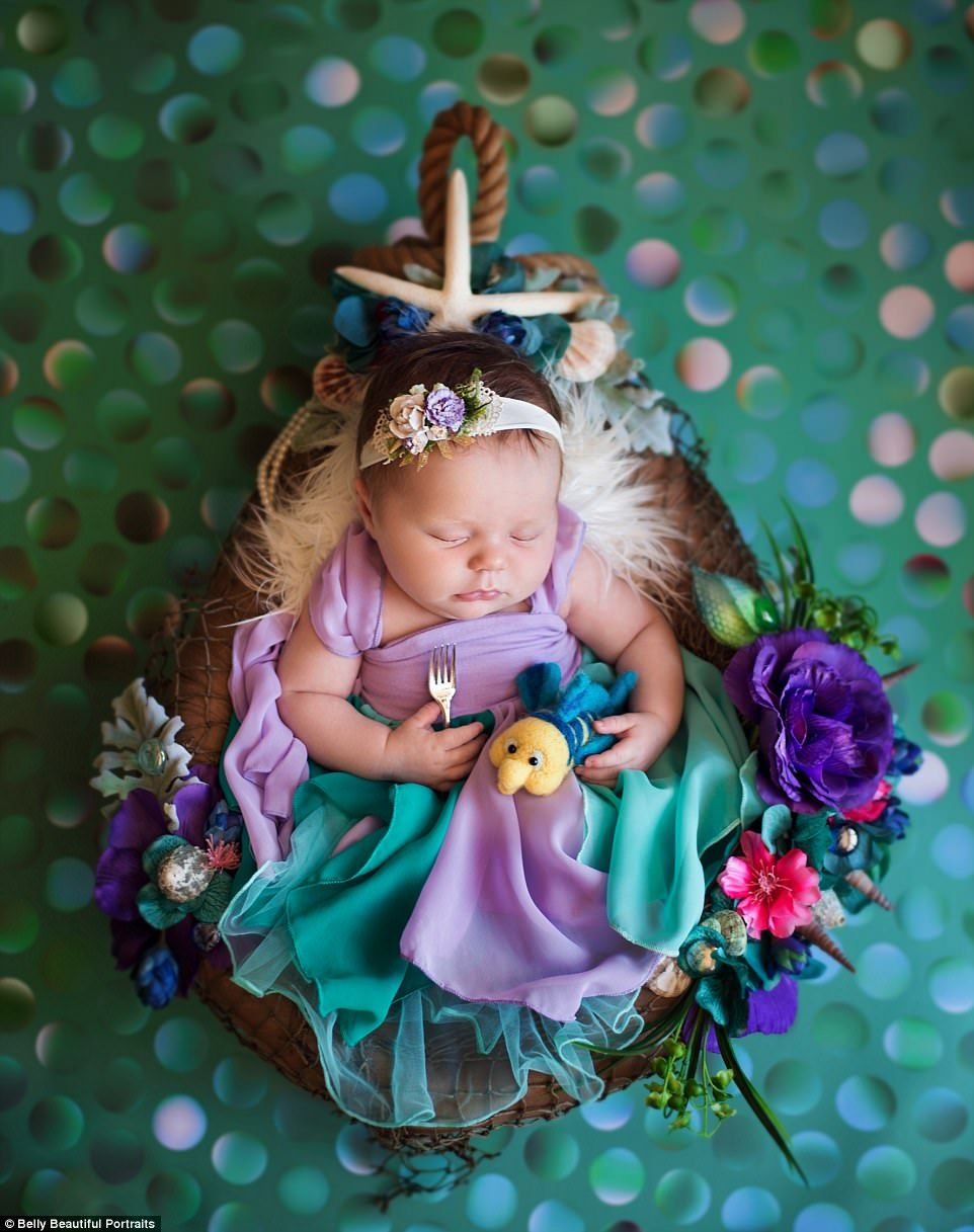 This disney princess newborn baby photoshoot is adorable