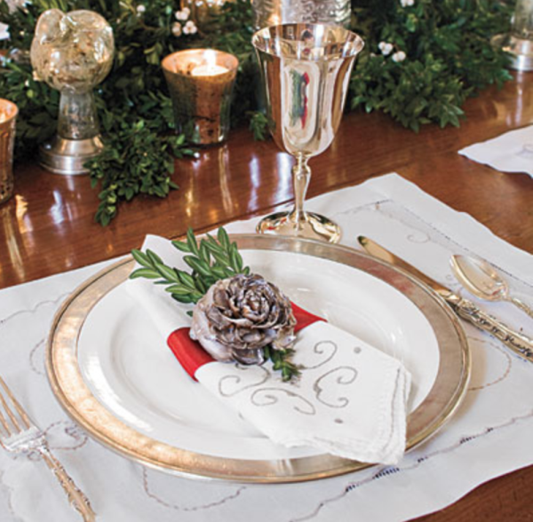 Christmas Table With Present Place Settings Country