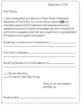 Open House Survey  Free Printable  Teaching Ideas Parents