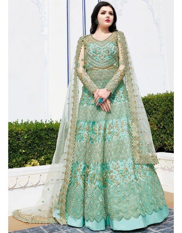 Aqua Mint Designer Lehenga Pant Kameez in 2019 | Anarkali ...