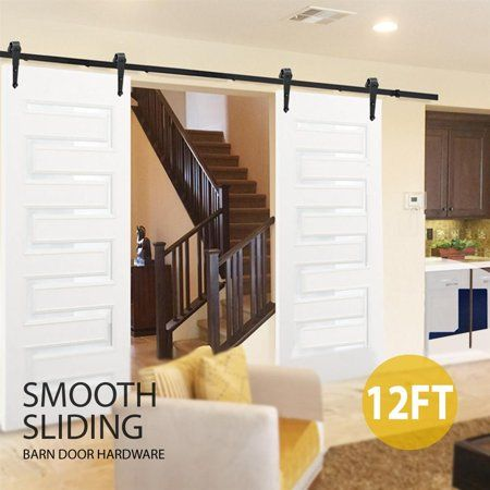 Smilemart 12ft Modern Sliding Barn Door Closet Hardware Set Hardware Track Set Black Walmart Com Sliding Barn Door Closet Barn Door Closet Barn Door