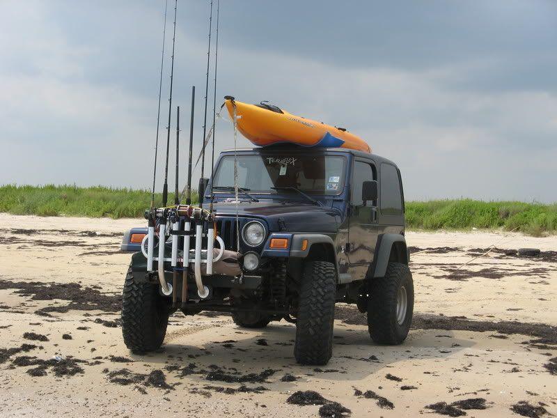 Fishing Rod Rack Jeepforum Com Beach Jeep Jeep Tire Cover